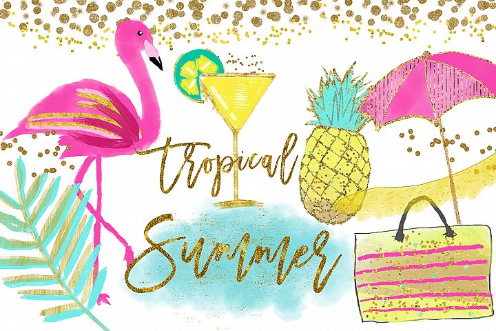 Flamingo Clipart, Pineapple Tropical clip art, summer clipart, hawaiian clipart, aloha hawaiian sticker planner, instant download clipart
