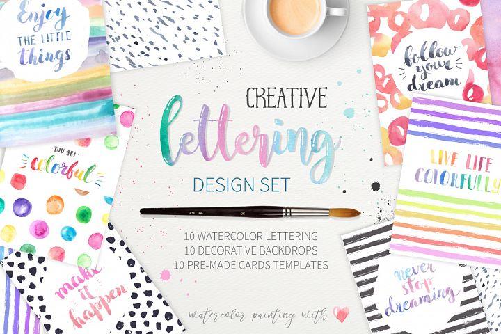 Watercolor Lettering Creative Set