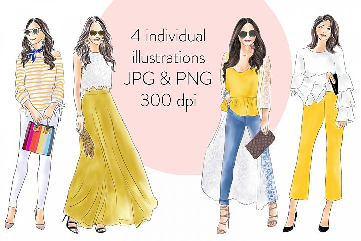 Girls in yellow watercolour fashion illustration clipart example 3