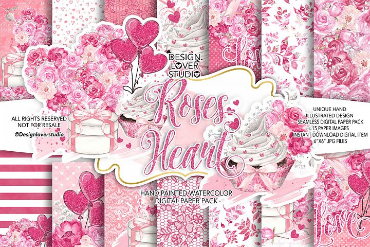 Roses Heart Valentine design digital paper pack