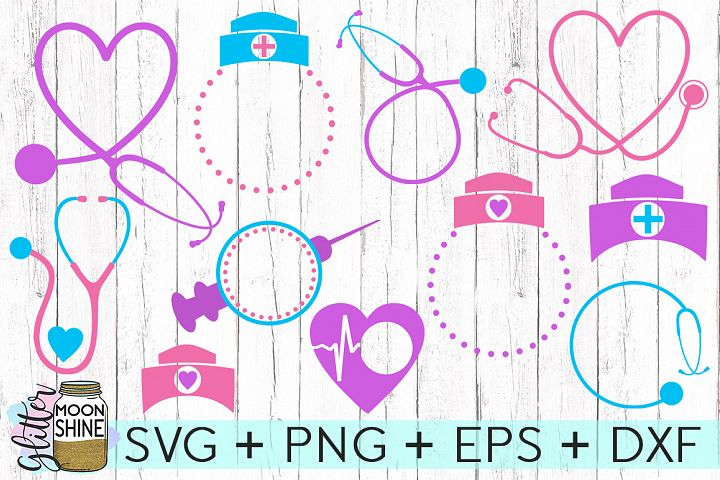 Nurse Monogram Frame Bundle SVG DXF PNG EPS Cutting Files