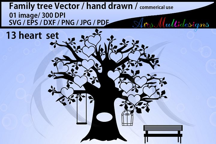 family tree clipart SVG, EPS, Dxf, Png, Pdf, Jpg / family tree silhouette / hand drawn family tree svg / vector / Commerical use / 13 heart set