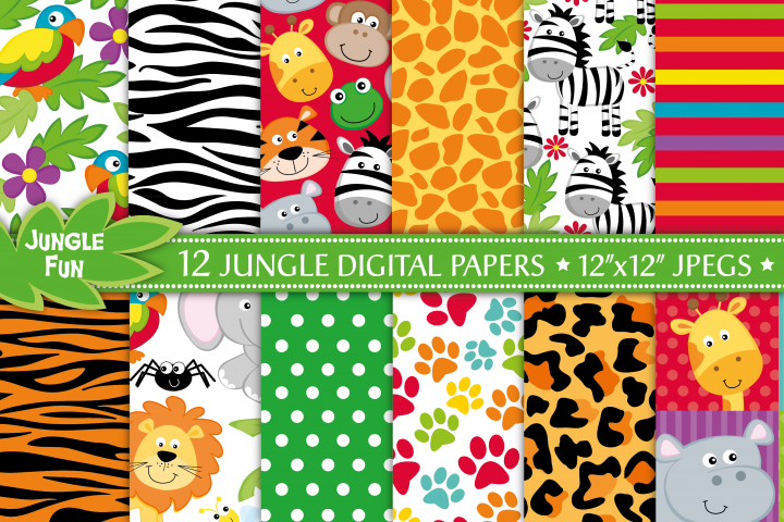 Jungle digital papers, Jungle animals digital papers, Jungle patterns, Jungle digital scrapbook papers