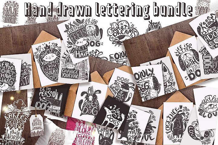 Hand drawn lettering bundle