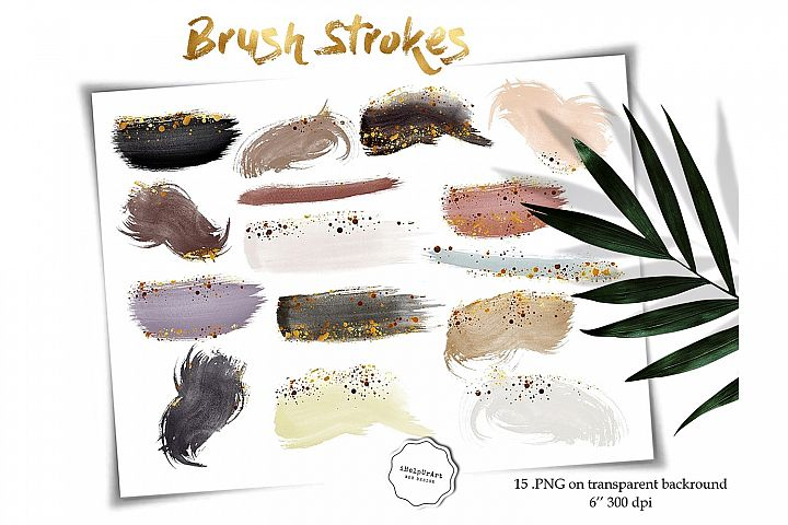 Earth Colors Watercolor Brush Strokes and Shapes