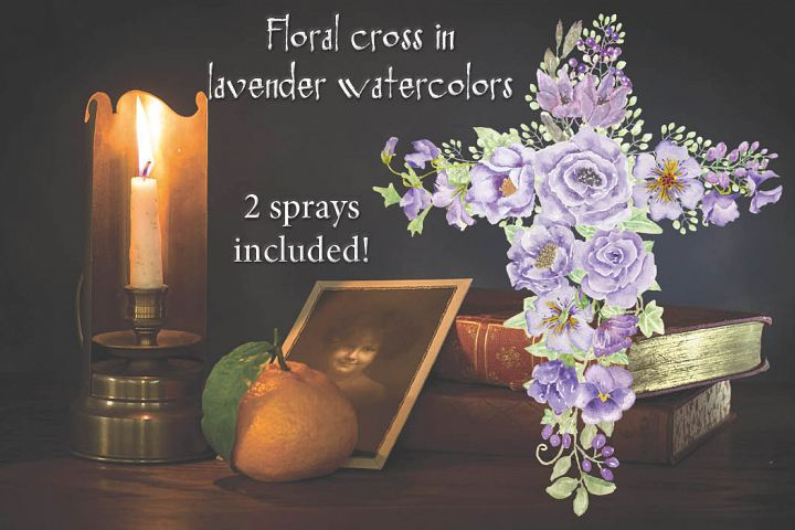Floral cross in lavender watercolors