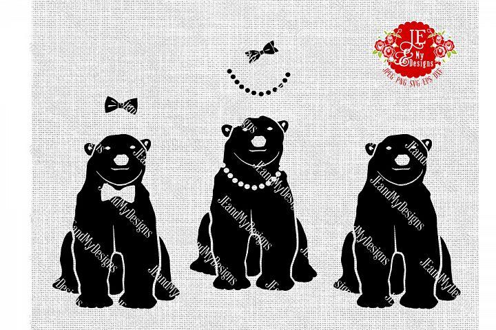 Polar Bear Trio SVG, JPEG, PNG, EPS, DXF