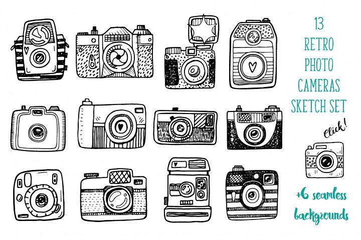 Hand drawn camera set +patterns