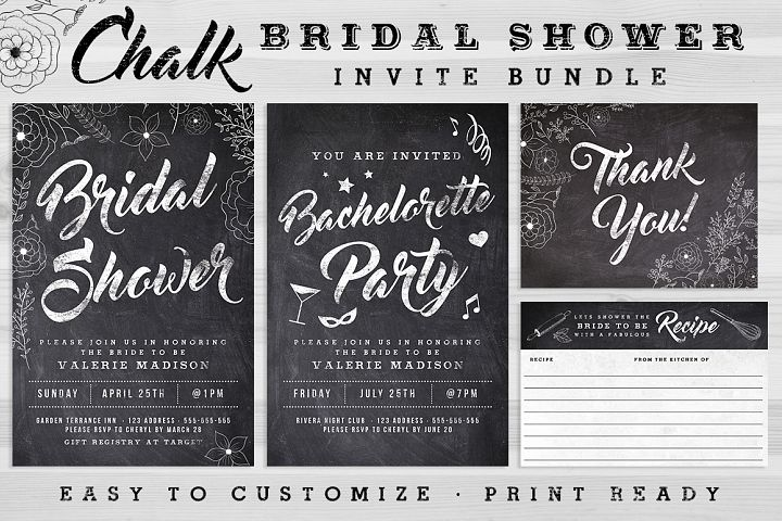 Chalk Bridal Shower Invite Bundle