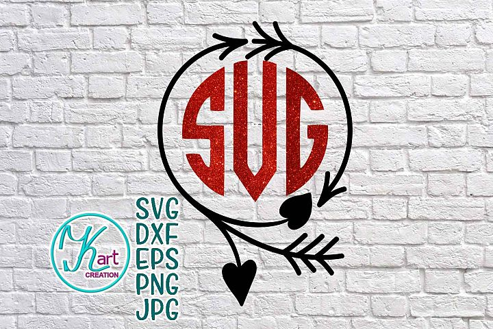 valentines day monogram svg file, valentine monogram svg, arrow monogram svg, arrow monogram frame svg, heart monogram svg, handdrawn wreath