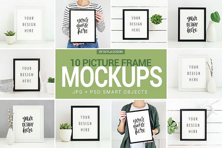 10 Poster & Picture frame mockups, White & Black frames