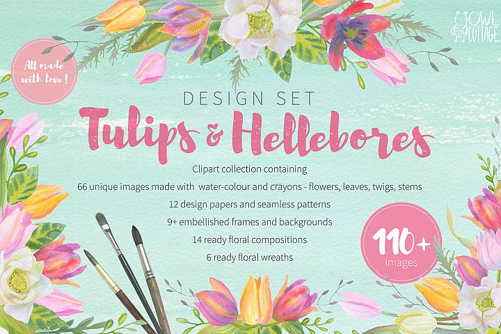 Floral Design Pack (watercolor & pastel) - Free Design of The Week
