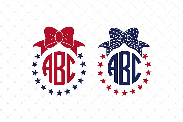 4th of July Bow Monogram Frames SVG Cut Files