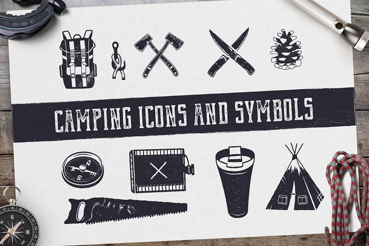 Camping Retro Icons / Hiking Badge Symbols