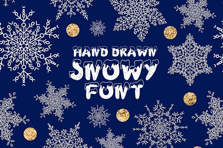 Handdrawn snowy display font