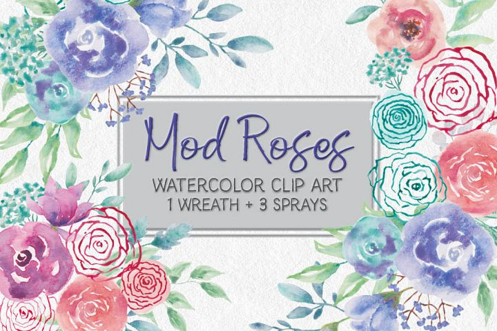 Watercolor wreath of mod roses