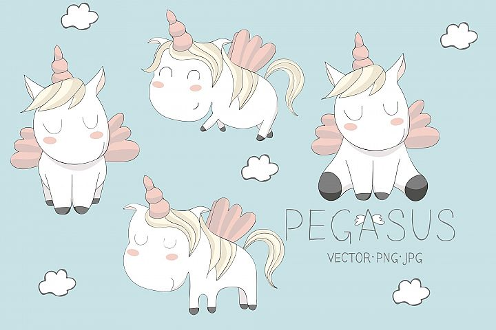 cute Pegasus illustrations. Set example 1