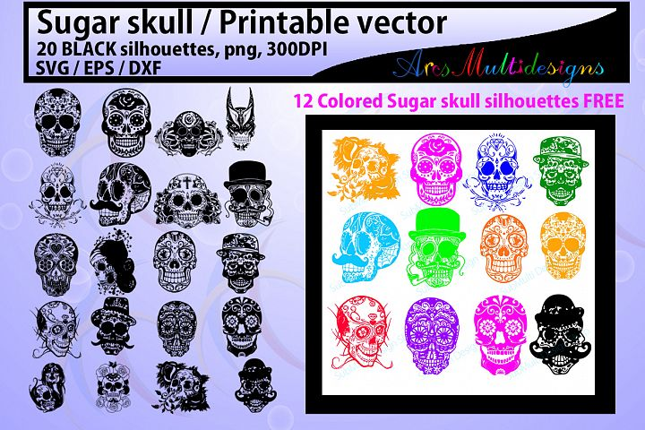 sugar skull silhouette / 20 sugar skull / sugar skull SVG / EPS /Dxf / vector skull / PNG /colored / Hq / colored skull / silhouette svg