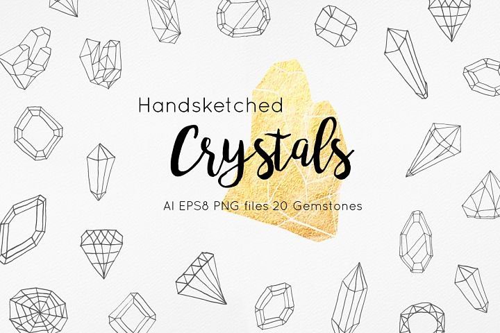 Handsketched Gemstones and Crystals