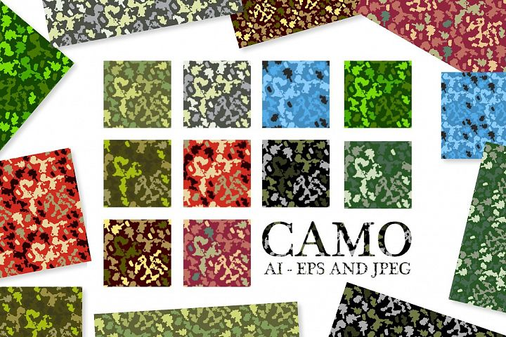 10 Army Camouflage Patterns Vectors