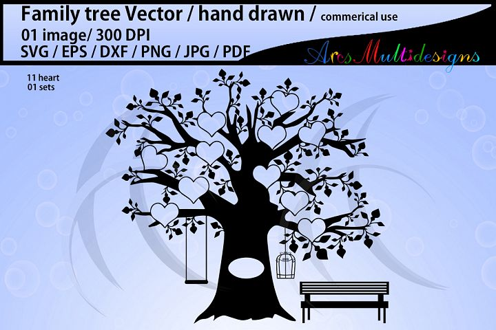 family tree clipart SVG, EPS, Dxf, Png, Pdf, Jpg / family tree silhouette / hand drawn family tree svg / vector / Commerical use / 11 heart set