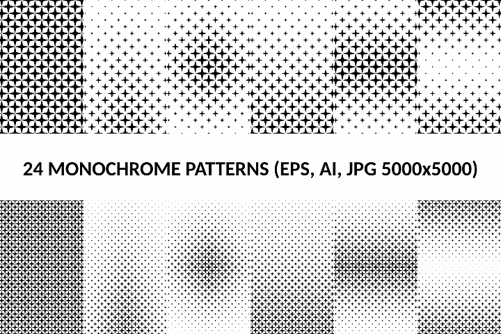 24 Star Patterns (AI, EPS, JPG 5000x5000)