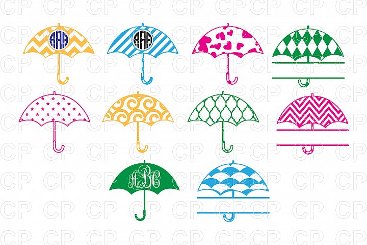 Umbrella Bundle SVG Cut Files, Umbrella Clipart