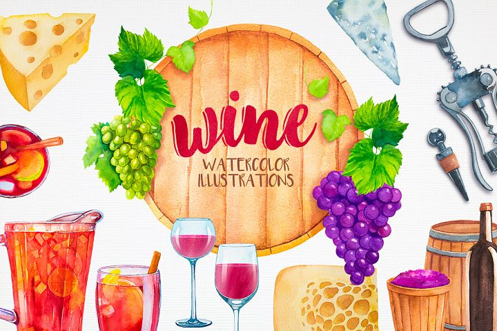 Watercolor Wine Set - Free Design of The Week
