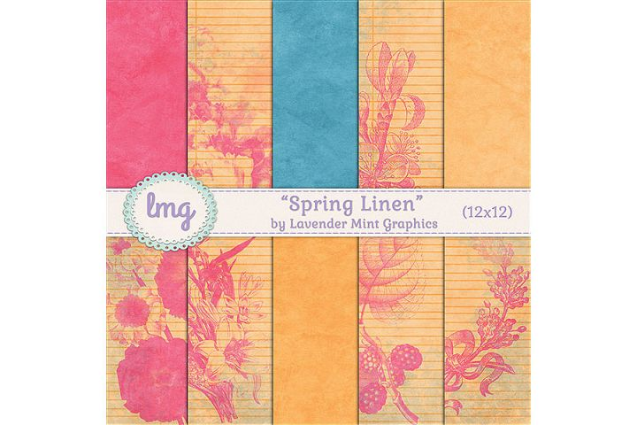 Spring Linen Digital Paper Backgrounds