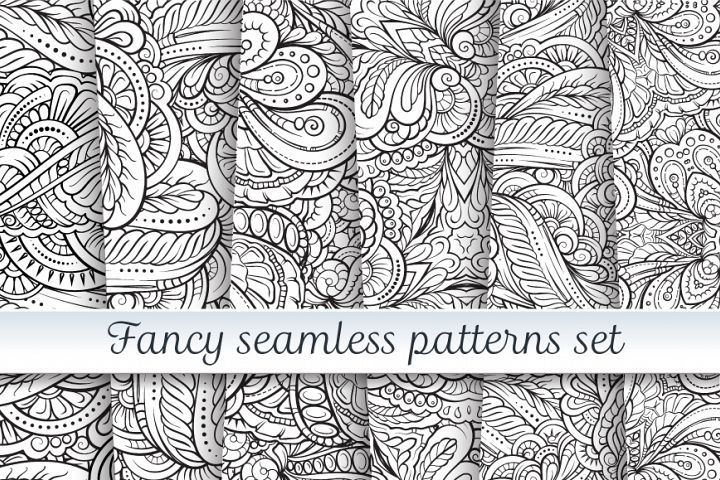 Fancy black and white seamless patterns set