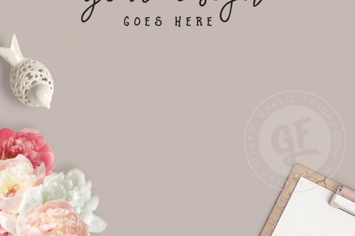 Feminine Vertical Pinterest Blog Mockup - Burgundy Styled Desktop Scene