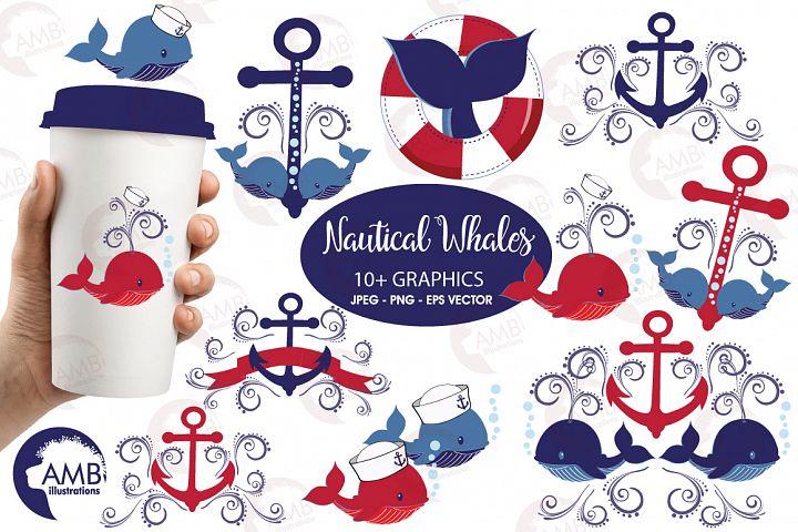 Nautical Whales clipart, graphics, illustrations AMB-926