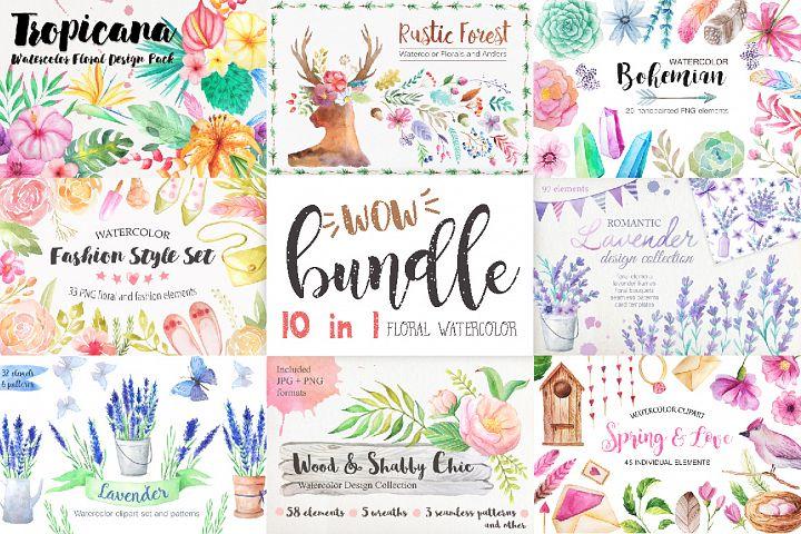 Summer Watercolor Floral BUNDLE
