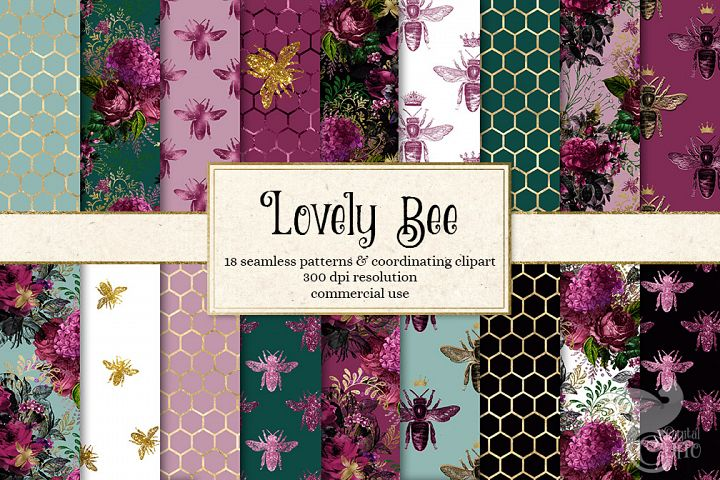 Lovely Bee Seamless Patterns