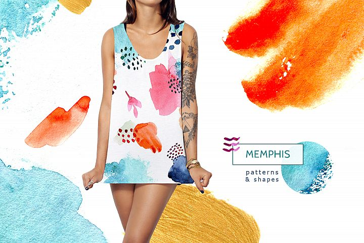 Watercolor memphis patterns & shapes