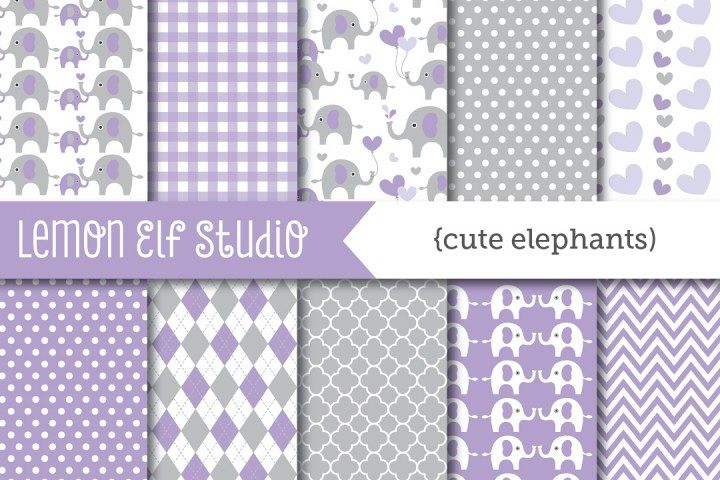 Cute Elephants-Digital Paper (LES.DP10D)