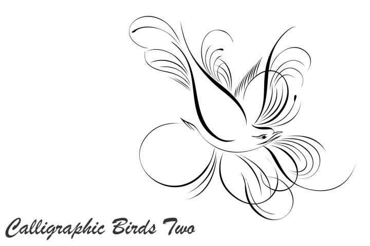 Calligraphic Birds Two