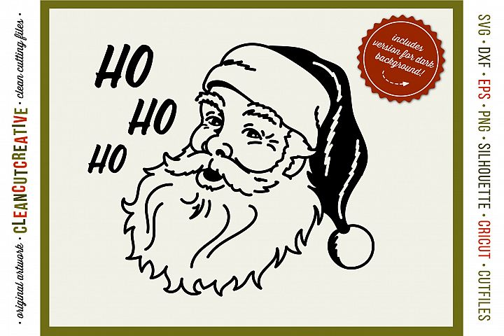 HO HO HO OLD-SCHOOL SANTA! - SVG DXF EPS PNG - Cricut & Silhouette - clean cutting files