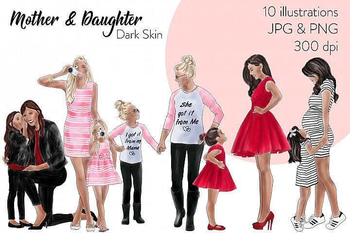 Fashion illustration clipart - Mother & Daughter - Dark Skin