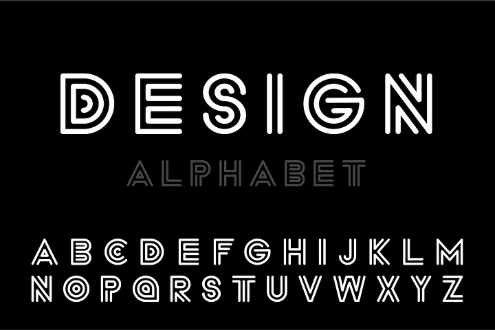 Modern designer font, striped letters