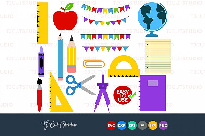 School supplies svg, school tools svg, pencil svg, Files for Silhouette Cameo or Cricut, Commercial & Personal Use.