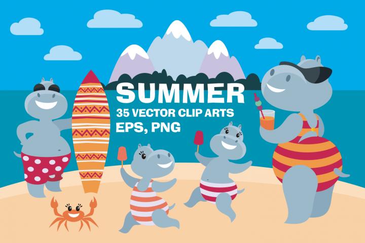 Summer. Amusing hippopotamuses and flamingo. Vector clip arts.