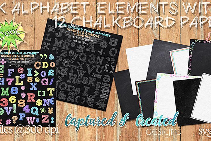 188 Chalk Alphabet Elements & Paper