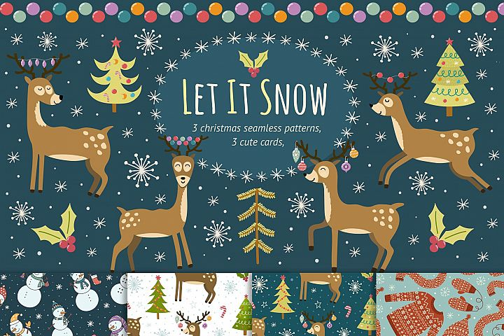 Let It Snow: seamless patterns & cards