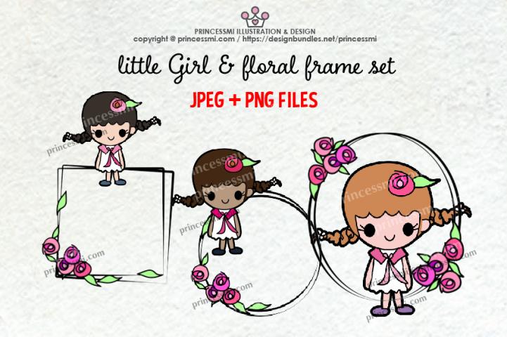 Little Girls & floral frame clipart set