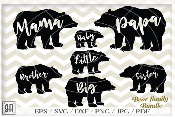 Bear family SVG - Bear svg - Bear family bundle svg - Bear cutting files - 7 in 1 - SVG - Svg - Dxf - Eps - Png - Jpg - Pdf