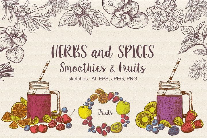 Set of vector Herbs, Spices, Smoothies and Fruits. Sketches collection of vegan food for cooking cards, stickers, labels, tags , packaging, juice.