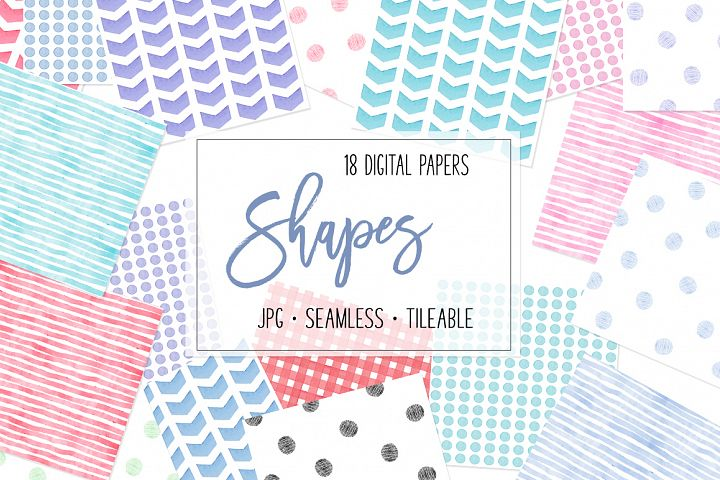 18 Digital Papers - Stripes dots chevron checks Seamless JPG