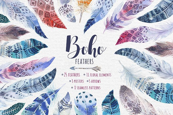 Bohemian watercolor feathers. Tribe collection