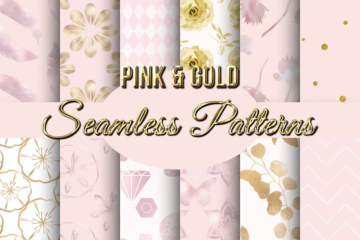 Pink and Gold Foil Seamless Patterns